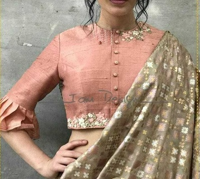 Simple High Neck Blouse With Embroidery