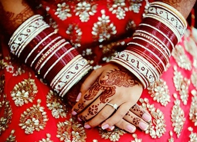 Traditional Bridal Chura in Maroon and White