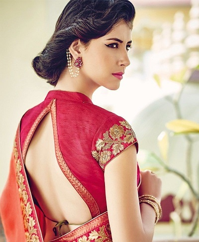 V Shaped Backless Pattern For Saree Blouse