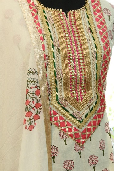 White Floral Gota work Suit
