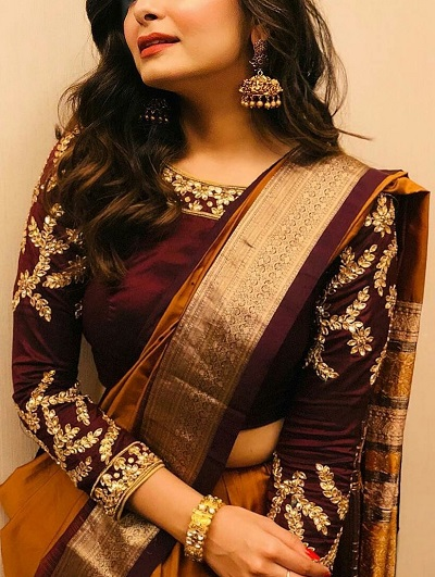 Boat Neckline Kundan Work Silk Saree Blouse Pattern