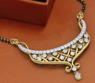 Criss cross pattern with diamond and gold pendant