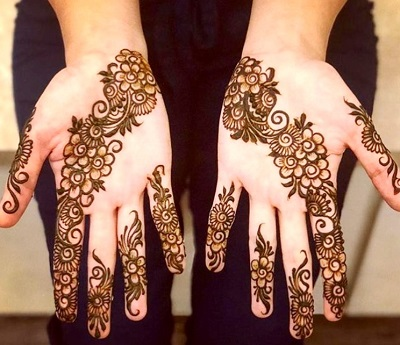 Easy Floral Mehndi For Small Girls