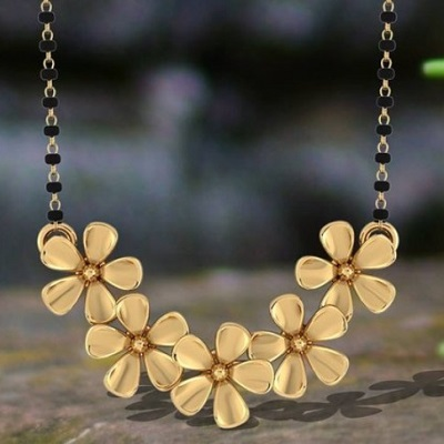 Floral mangalsutra pendant in Gold only