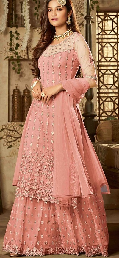Long Net Sharara Suit And Dupatta Style