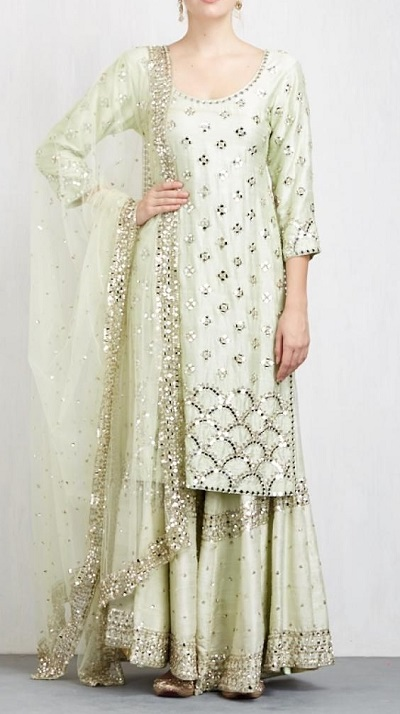 Mint Green Mirror Work Sharara Suit For Parties