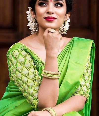 Modern Sleeves Green Silk Blouse For Wedding Sarees
