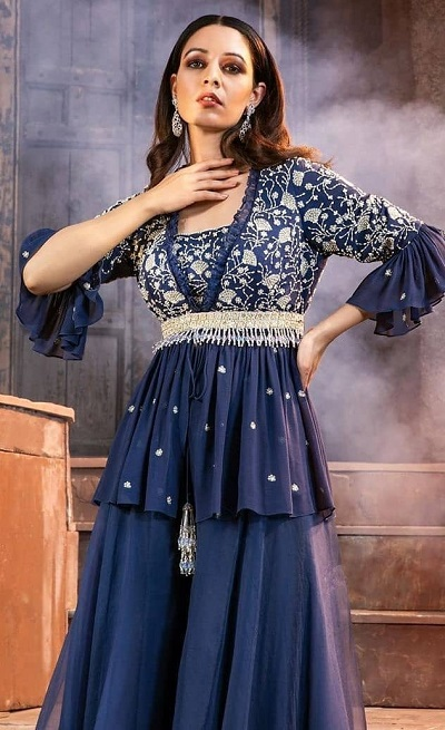 Party wear peplum blouse with heavy embellishment