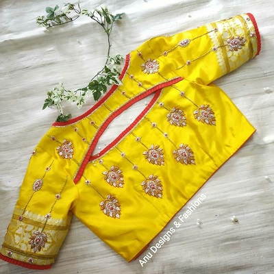 Patch Work Design Yellow Silk Saree Blouse