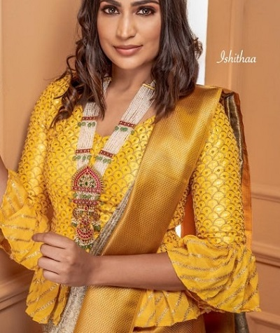 Peplum Yellow Silk Saree Blouse