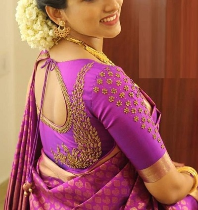 Purple Embellished Silk Blouse Design For Festivals