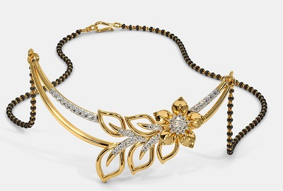 Shape Curved Pendant Style Simple Mangalsutra Pattern