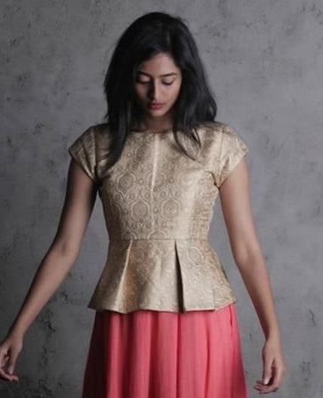 Short Golden brocade short sleeves peplum blouse design