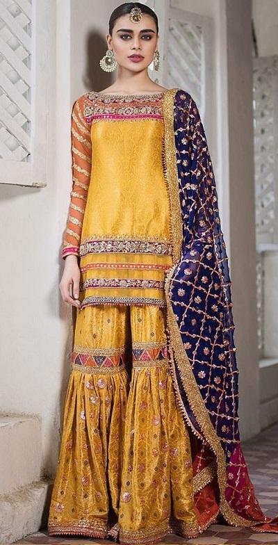 Silk Short Kurti Sharara With Net Blue Gota Patti Work Dupatta