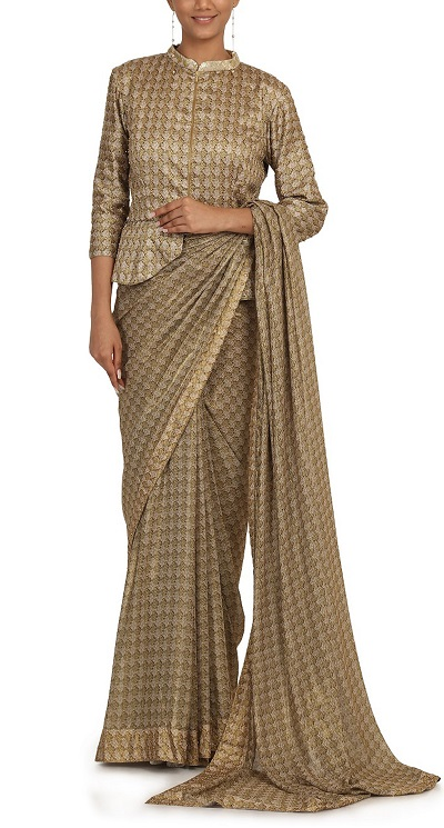 Silk collared full sleeves peplum blouse for sarees