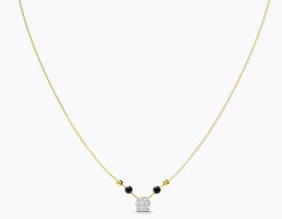 Stylish Solitaire Inspired Thin Chain Daily Mangalsutra Pattern
