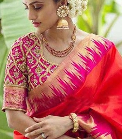 Thread Work Embroidered Saree Blouse Design