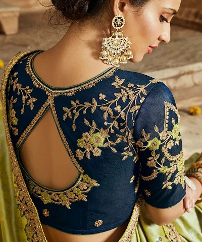 Unique Back Neck Line Silk Saree Blouse