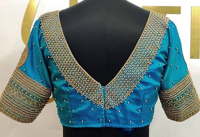 V Back Neck Bead Work Silk Blouse