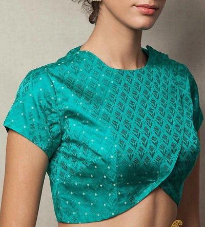 Wrap Pattern Silk Saree Blouse Design