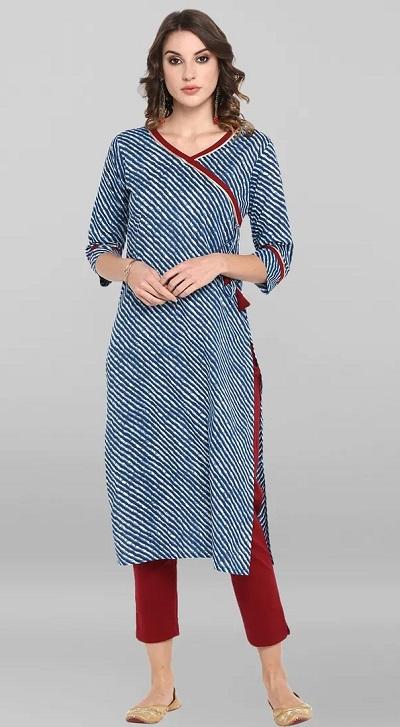 Angrakha style bandhej kurta with solid red pants