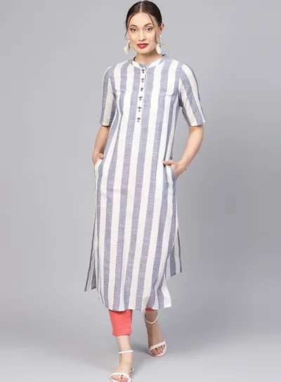 Casual wear long kurta with solid pants