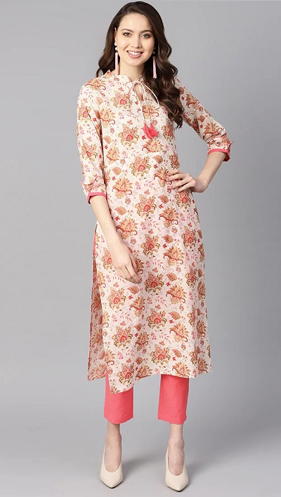 Collared printed long kurta with solid colored pants
