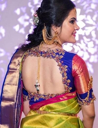 Cut work back design for silk blouse