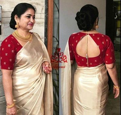 Drop shape back neckline cut out for silk saree