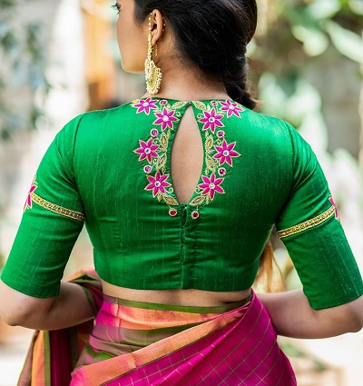 Green embroidered latest saree blouse pattern for back