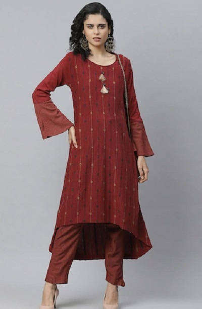 High Low Maroon printed kurta with solid straight pants