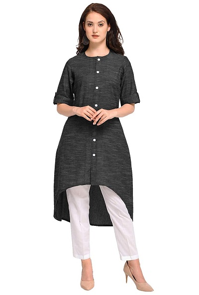 High and low black cotton kurti with white trouser pants