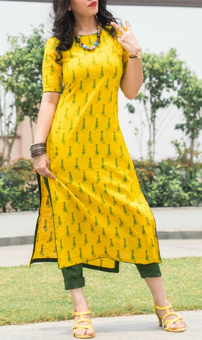 Long yellow printed kurti with cropped trouser pants