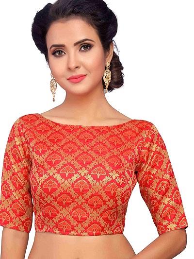 Orange brocade boat neckline blouse design