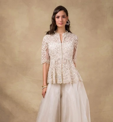 Partywear Peplum Blouse With Thread Work And Collar