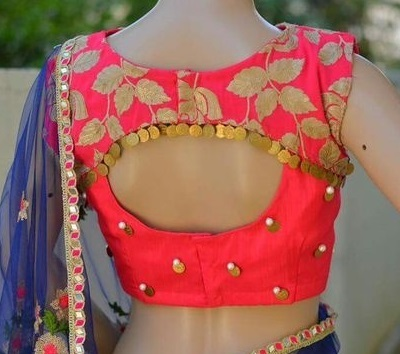 Patch work Silk blouse back side design with embroidery