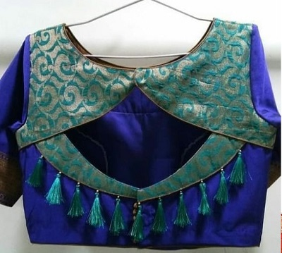 Silk blouse patchwork back design with tassels