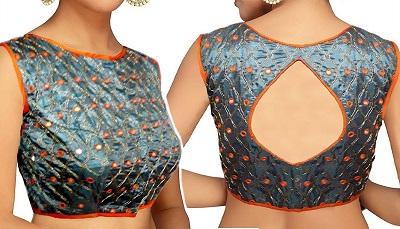 Silk designer boat neckline blouse