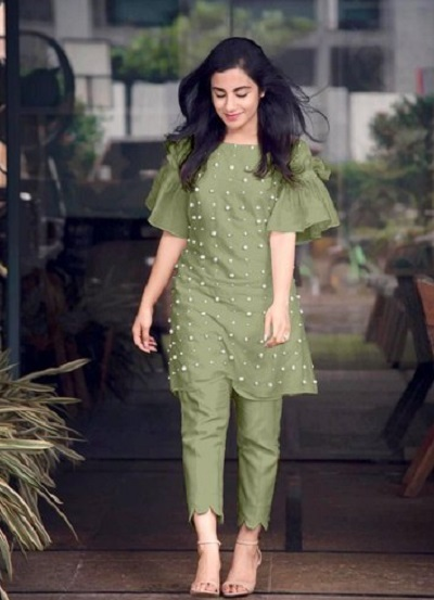 Stylish short kurti with ruffled sleeves with trouser pants