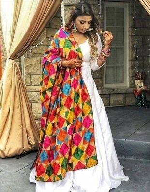 Anarkali suit with multicolor Phulkari dupatta