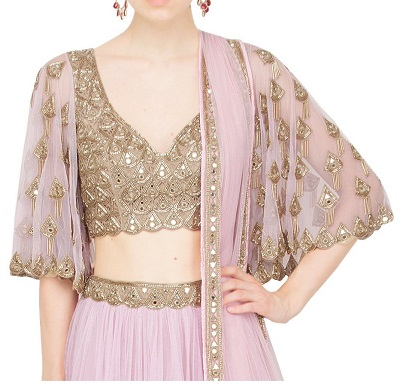 Bell Style Sleeves Heavy Embellished Blouse Design