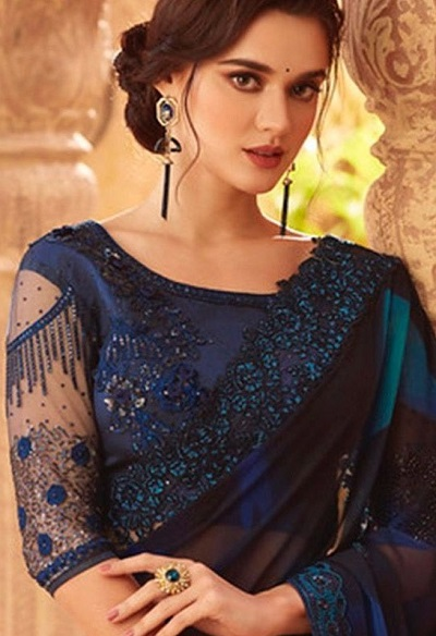 Blue net embroidered party wear blouse design