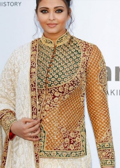 Bridal embroidered long length blouse with collar