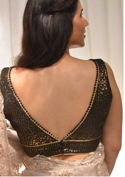 Brocade Back V Neckline Blouse Design