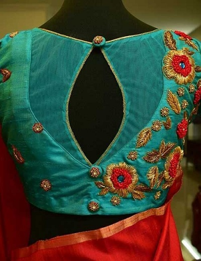Net And Embroidery Patch Work Blouse For Brides