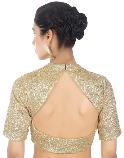 Semi backless blouse back design for sarees