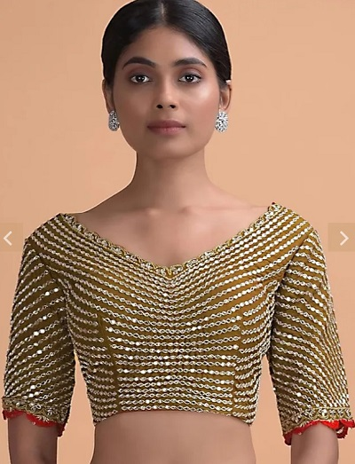 Sequin and mirror studded heavy work blouse design
