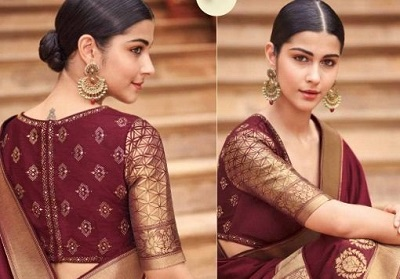 Wine And Gold Blouse For Silk Sarees