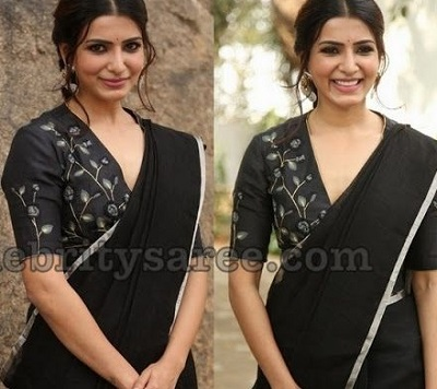 Black Embroidered V Shape Blouse Design