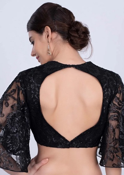 Black Sequined Net Black Blouse For Parties